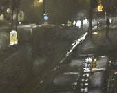 Foggy Street  3 - Original Pastel and Chalk Drawing