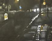Foggy Street  3 - Original Pastel and Chalk Drawing