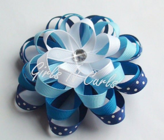 Boutique Style Loopy Flower Girls Hair Bow in Shades of Blue