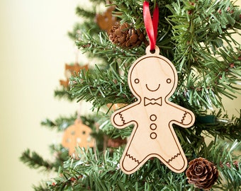 Wooden Gingerbread Cookie Ornament: Personalized Name Boy or Girl, Classic Christmas Ornament (1)