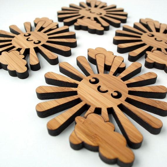 Happy Sun Coasters: Wooden Kawaii Coasters (Set of 4) Bamboo