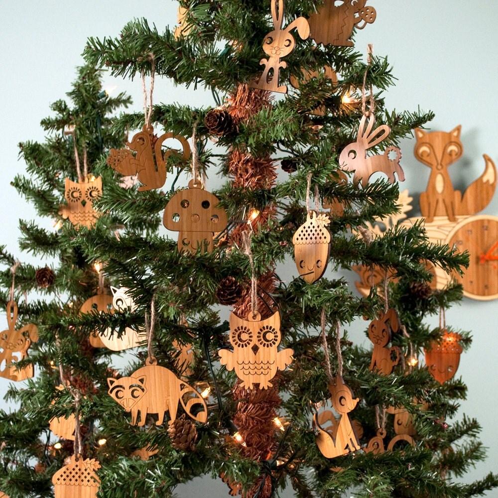 Wooden animal ornaments owl fox acorn squirrel hedgehog