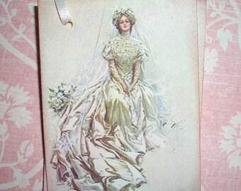 Bride Tag -  Wedding Tag -  Vintage Image - Wish Tree Tags - Wish Cards - Wedding Shower Tags -  Set of Six