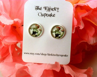 Zombie pin up earrings