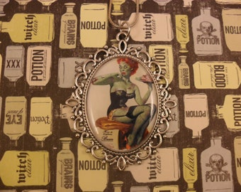 Zombie pin up pendant