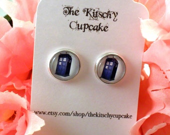 Doctor Who Inspired call box earrings