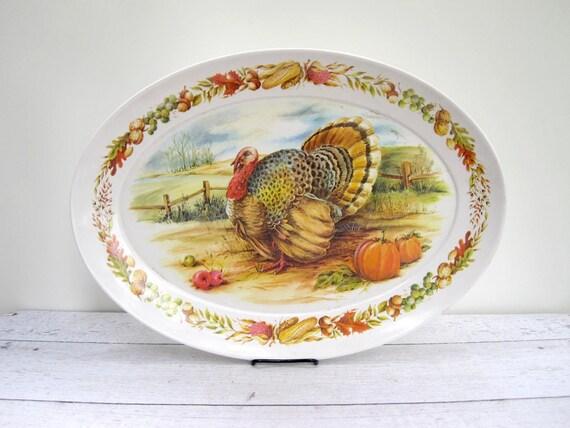 Vintage Thanksgiving Turkey Platter - Turkey Serving Tray