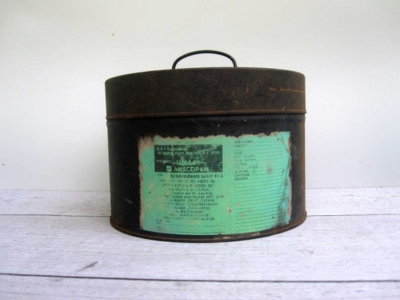 Large Metal Movie Film Reel Canister - Shabby Box Container