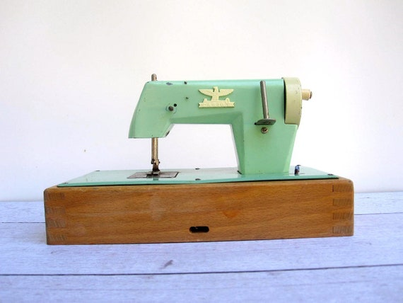 Mint Green Toy Sewing Machine - Mid Century from West Germany