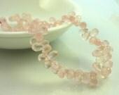 Rose quartz faceted teardrop briolette beads 7-8mm set of 10
