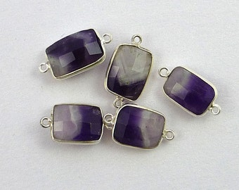 Pretty cape amethyst & sterling silver connector station 19-20mm