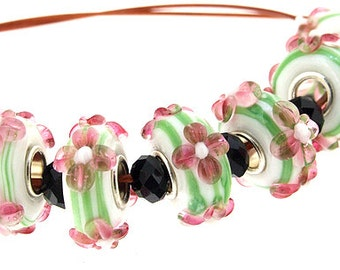 Big Hole 4.5mm 7Beads Green Pink Flower Lampwork bead Candy Flowers Handmade jewelry designs European Style