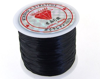 328 ft  (100m )Spool of  Black Elastic Cord 0.6mm fit your bracelet or other jewelry
