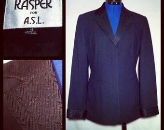 Black Kasper for ASL Blazer Vintage 80s Size 4 Small