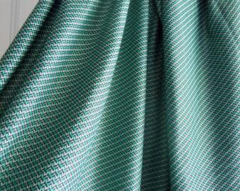 Green and Black Triangular/Chevron Print Vintage Polyester Fabric- 1 Plus Yard
