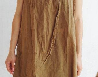D12, Mustard Yellow Lotus Flower Yellow Brown Cotton Dress, yellow dress,khaki