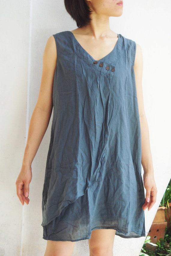 D12, Lotus Flower Cotton Dress, grey dress
