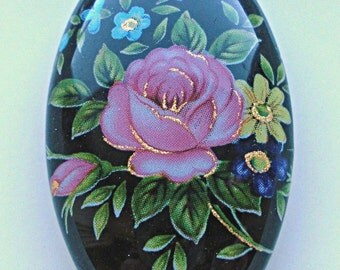 NEW LOVELY Japanese Tensha Focal Bead Pink Rose on Black