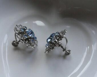 Ice Blue Rhinestone Earrings