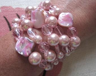 Vintage Five-Strand Pink Costume Bracelet