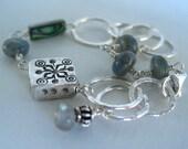 Labradorite Bracelet Sterling Silver Handmade Gemstone Jewelry Wire Wrapped