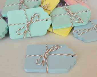 Tags 20 Small Blue Pastel - Blank Gift Tag