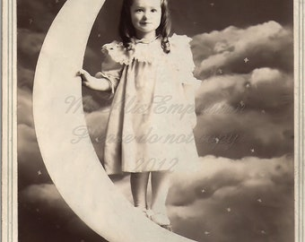 Girl and Paper Moon, Digital Photo Download