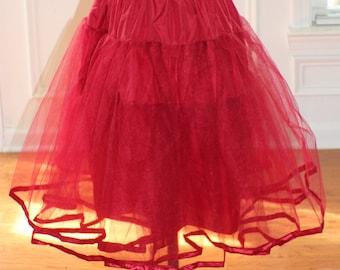 "Crinoline petticoat skirt for women's 50's dress in burgundy and black choose your size 23"" long"
