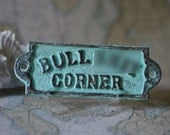 Home Decor Cast Iron BS Corner Sign - Blue/Green Patina