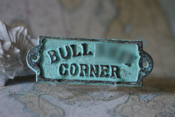 Home Decor Cast Iron BS Corner Sign - Blue/Green Patina
