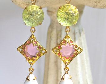 Vintage Pink, Mint Green, White Pear Tear Drop Glass Rhinestone  Drop Dangle Earrings, Wedding Bridesmaids Statement Dangle Earrings