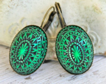 Green and Black Mosaic Earrings Egyptian Mosaic Bohemian Southwestern Pattern Oval Antiqued Brass Lever Back Drop Dangle Earrings -,Vintage