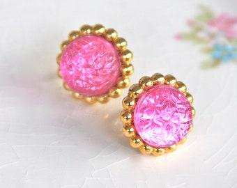 Vintage Pink Round Bumpy Textured Brass Gold Vintage Rhinestone Post Earrings - Bridesmaid ,Wedding,Beach,BridalEarrings