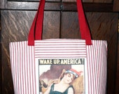 Tote Bag Red Striped Ticking Fabric Wake Up America Buy US Hand Made   Free Shipping