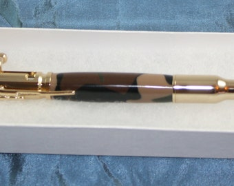 Pen  Handmade Acrylic Camouflafe Handturned  Bolt Action 30 Calibre Gold Finish