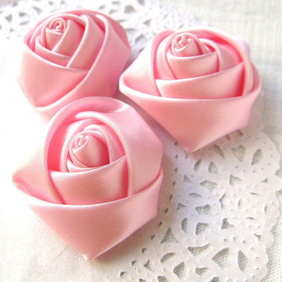 10PCS 35mm Small satin handmade fabric rose flower appliques for dresses Pink (28-13-96)