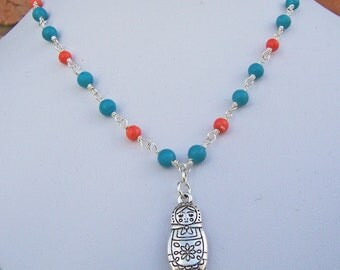 Turquoise and Coral necklace with Russian Doll Pendant, Gemstone necklace, Blue and Red Necklace, UK seller