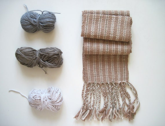Tan Handwoven Scarf Fall Accessory, For Child or Size XS for Women