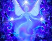 "Original Art, Reiki Energy Charged Angel Decor, Blue Violet Moon Print ""Dream"""