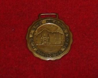 Vintage Brass Watch Fob of The Alamo-San Antonio- Robbins Co, Attleboro, Mass-STEAMPUNK