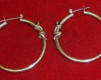 Vintage Sterling Silver Large Modernist Post Hoop Earrings