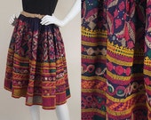 RESERVED Vintage 70s Indian Ethnic Embroidered w/Mirrors Circle Skirt S-L