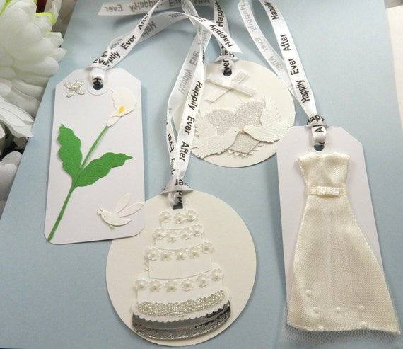 4 Happily Ever After Wedding Gift Tags/Bookmarks, Wish Tags, White, Wedding Cake, Wedding Dress, Marriage, Bridal Shower