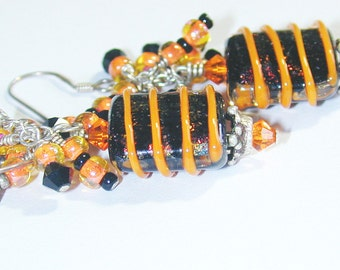 JBB Dichroic Dazzle Halloween Art Bead Earrings