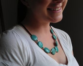 Beaded Silver and Turquoise Statement Necklace