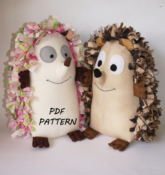 Hedgehog PDF Sewing Pattern, soft toy, echidna, porcupine ...