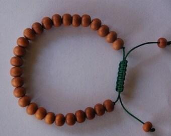Tibetan Sandalwood Wrist Mala/ Bracelet for meditation green string