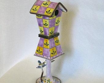 Miniature LAVENDER & Yellow CHECKERBOARD BIRDHOUSE Bluebird Bumble Bee Butterfly, Fleur de Lis, Cloisonne Enamel Hinged Box, Kelvin Chen 203