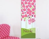 "Canvas Growth Chart, Height Chart - Floral Tree and Birdhouse- 13"" X42"" Inches, Gift for Girls, Gift for toddlers, Holiday present"