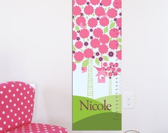 """Canvas Growth Chart, Height Chart - Floral Tree and Birdhouse- 13"""" X42"""" Inches, Gift for Girls, Gift for toddlers, Holiday present"""